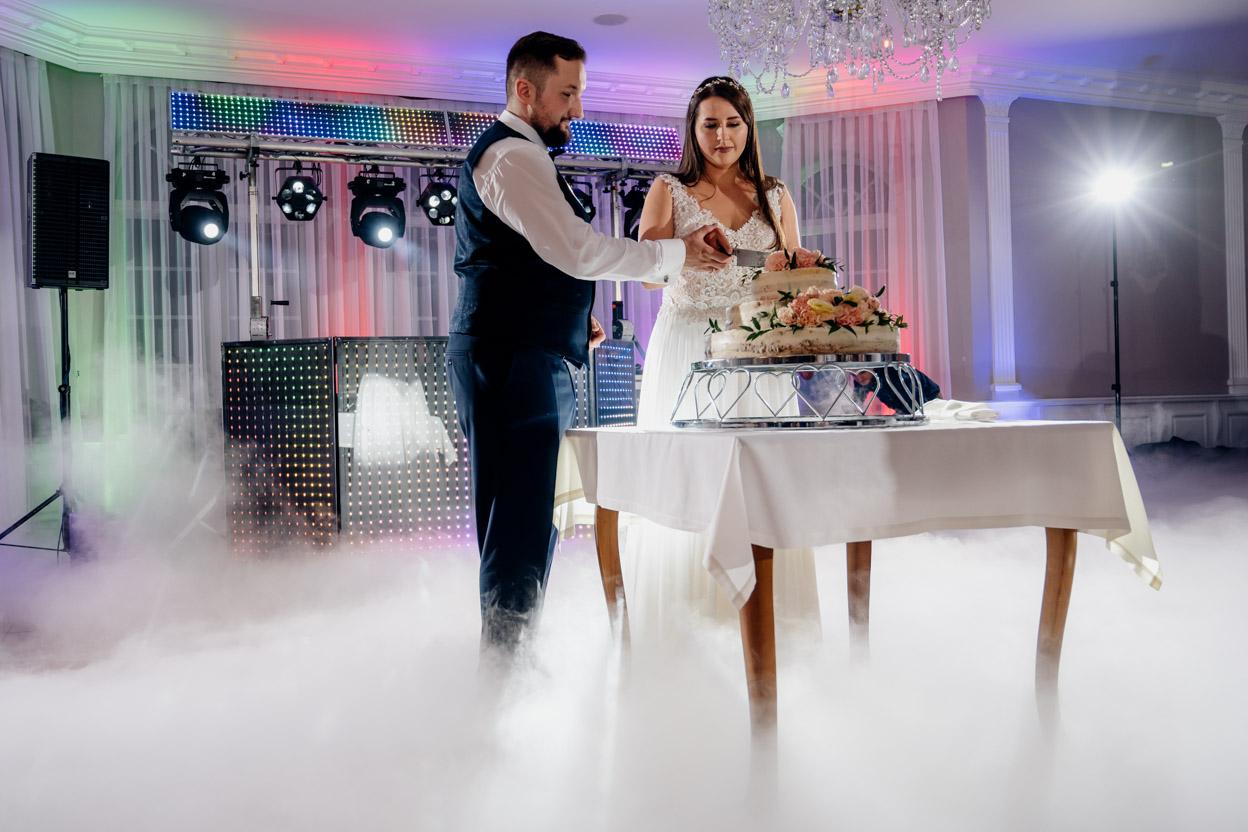 zabawa weselna, fotografia ślubna kielce, fotograf kielce, dworek binkowski, krojenie tortu weselnego